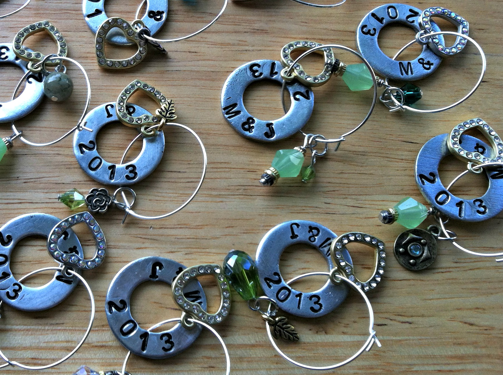 Stamped Washer Glass Charms